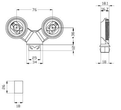 T8 G13 Protected twin slots lamp insertion screw base diagram