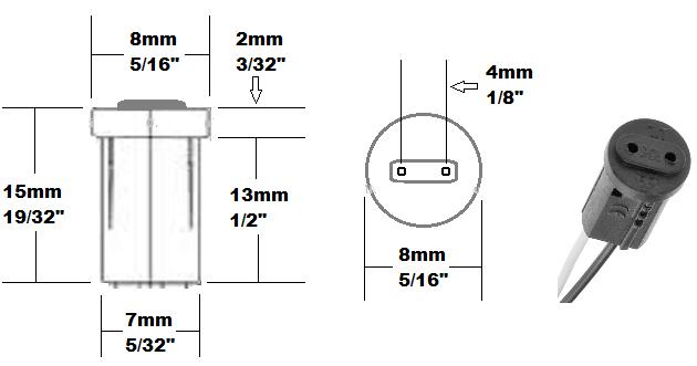 G4 plastic Bi-pin socket base MR11 lamp holder drawing size