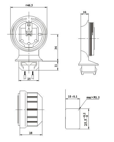T5 G5 dustproof protected lamp holders diagram