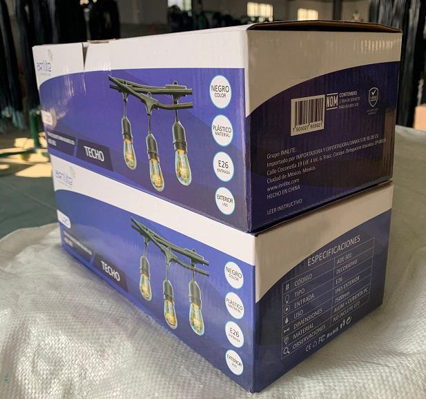 E27 base LED RGB festoon lighting package carton box